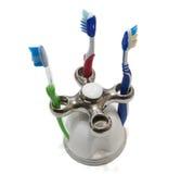 Cepillos de dientes de las familias Imagen de archivo libre de regalías