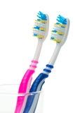 Cepillos de dientes rosados y azules Fotos de archivo libres de regalías