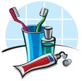 Cepillos de dientes y crema dental Fotografía de archivo libre de regalías