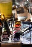 Cepillos de la acuarela Fotografía de archivo libre de regalías