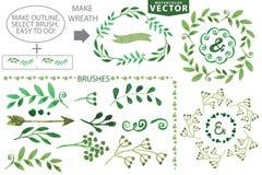 Cepillos de la acuarela y sistema de la guirnalda Vendimia floral Fotos de archivo libres de regalías