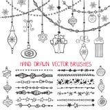 Cepillos de la guirnalda de la Navidad, bolas fijadas ilustración del vector