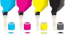Cepillos de pintura con color de CMYK Fotos de archivo