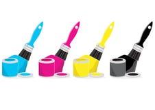 Cepillos de pintura con color de CMYK Foto de archivo libre de regalías