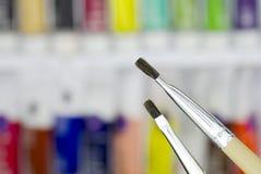 Cepillos de pintura de petróleo Imágenes de archivo libres de regalías