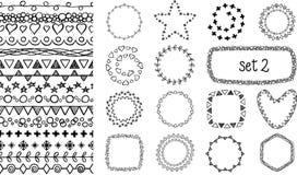 Cepillos decorativos dibujados mano ilustración del vector