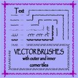 Cepillos decorativos dibujados mano del vector Imagenes de archivo