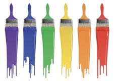 Cepillos del color del arco iris con la pintura stock de ilustración