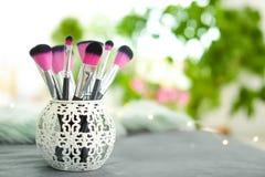 Cepillos del maquillaje en tenedor Fotografía de archivo