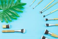 Cepillos del maquillaje, herramientas diarias del maquillaje Fotografía de archivo