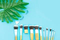 Cepillos del maquillaje, herramientas diarias del maquillaje Fotos de archivo libres de regalías