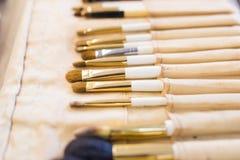 Cepillos del maquillaje, primer Foto de archivo libre de regalías