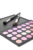 Cepillos del maquillaje y sombras de ojo del maquillaje Fotografía de archivo libre de regalías