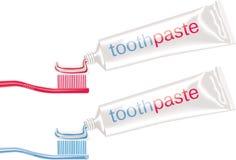 Cepillos dentales del vector con crema dental stock de ilustración