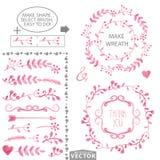 Cepillos florales rosados de la acuarela y plantilla determinada de la guirnalda stock de ilustración