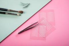 Cepillos, latigazos falsos, pinzas y cintas dobles del pliegue artificial del p?rpado para el maquillaje del ojo en rosa color de imagenes de archivo