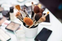 Cepillos para la opinión superior del maquillaje Imagen de archivo libre de regalías