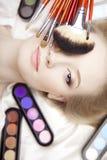 Cepillos profesionales del estilista y del maquillaje Fotografía de archivo libre de regalías