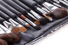 Cepillos profesionales del maquillaje en caso compacto Imagen de archivo