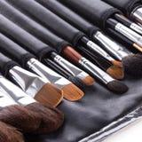 Cepillos profesionales del maquillaje en caso compacto Foto de archivo
