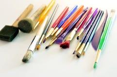 Cepillos usados para dibujar imagen de archivo libre de regalías