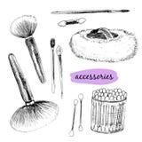 Cepillos y accesorios de Makaup. Imagen de archivo