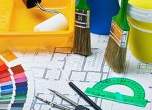 Cepillos y accesorios para la reparación Fotografía de archivo