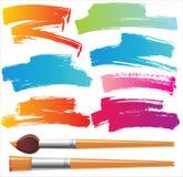 Cepillos y elementos pintados Imagen de archivo libre de regalías