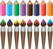 Cepillos y lápices Stock de ilustración