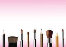 Cepillos y lápices del cosmético fotografía de archivo libre de regalías