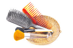 Cepillos y peine del maquillaje Imagen de archivo libre de regalías