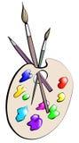Cepillos y pintura (color) Imagen de archivo libre de regalías
