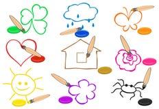 Cepillos y pintura de diversos colores que pintan el sim Foto de archivo