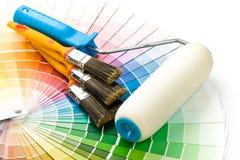 Cepillos y pintura-rodillo Imagenes de archivo