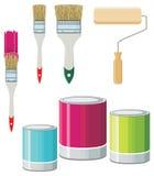 Cepillos y pinturas para las paredes Fotos de archivo