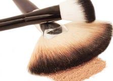 Cepillos y polvo de cara Cierre para arriba Fotografía de archivo libre de regalías
