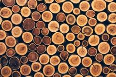 Ceppi impilati di legno come struttura Fotografie Stock
