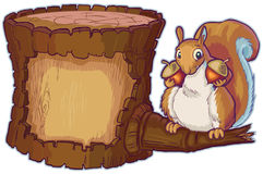Ceppo del fumetto di vettore con lo scoiattolo che tiene due dadi di ghianda Fotografia Stock