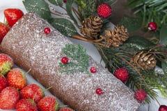 Ceppo di natale del cioccolato con le fragole, le pigne e il berrie immagine stock