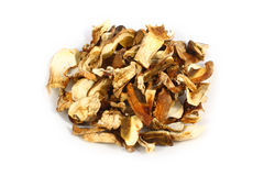 Ceps dried. Mushrooms white dried chopped slices on white background Royalty Free Stock Images