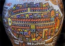 Cerámica Madaba Jordania del florero del mapa de Jerusalén Imágenes de archivo libres de regalías