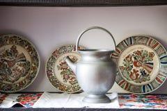 Cerámica rumana tradicional de la loza de barro en Buzau - Rumania fotografía de archivo libre de regalías