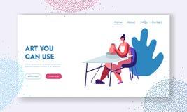 Cerámica, taller, cerámica Art Concept Website Landing Page Carácter femenino que esculpe el nuevo utensilio con la rueda girator stock de ilustración