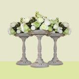Cerámica - tres floreros para las flores Imagen de archivo