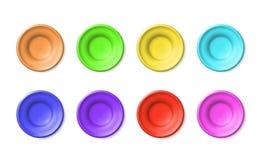 Cerâmica colorido das placas ajustadas da placa da argila ou do plástico Heterogêneo cerâmico do esmalte esvazia Porcelana simple ilustração royalty free