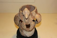 Cerâmica da efígie usada pela cultura de Weeden indicada no monte de Kolomoki foto de stock royalty free