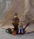 Cerâmica no fundo da lona Fotos de Stock