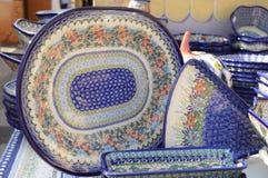 Cerâmica polonesa do Special feita em Boleslawiec imagens de stock royalty free