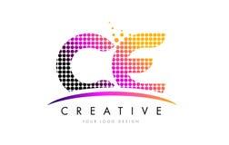 CER C E Buchstabe Logo Design mit magentaroten Punkten und Swoosh Stockbilder