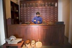 Cera circa il deposito della medicina di cinese tradizionale Fotografie Stock